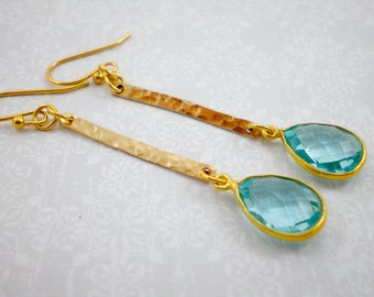 Blue Topaz and Hammered Gold Earrings, Blue Topaz Gold Dangle, 14kt Gold Drop Earrings, Inv126