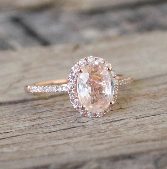 ... Peach Sapphire in 14K Rose Gold. ◅