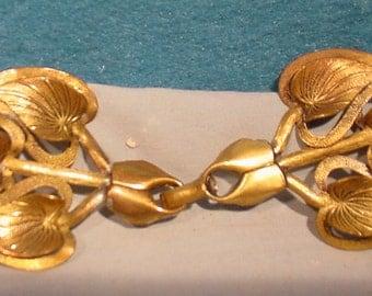 Beautiful Brass Belt Buckle Retro Leaves Signed ARTISAN New York Super