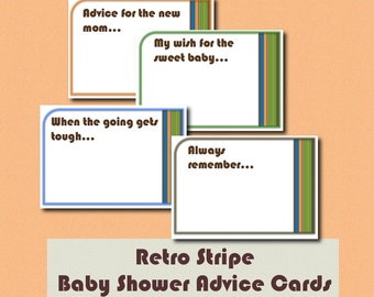 New Baby Advice Cards - Retro Stripe - Orange Brown Green digital download printable