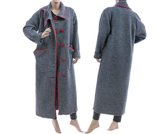 Stylish womens maxi coat, long fall winter spring coat, coat from boiled wool in blue-grey / lagenlook for medium size women M, US size 8-12
