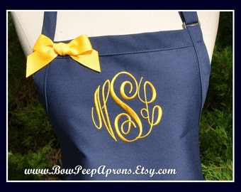 Navy Blue Monogram Apron - Personalized Navy Blue Apron, Monogrammed Navy Blue Aprons with Ribbon Bow, Personalized apron with pockets