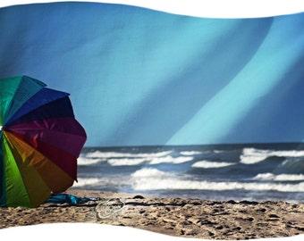 Beach Umbrella Ocean Sea Dreams- Fine Art Photograph Print Picture on Dye Infused Aluminum