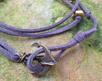 Men's Dark Gray  Leather Wrap Bracelet with Bronze Anchor Hook