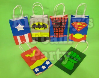 6 Super Hero Party bags