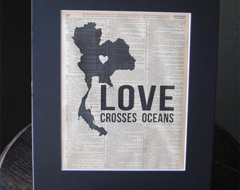 Love Crosses Oceans (Thailand) - Vintage Adoption Word  Art