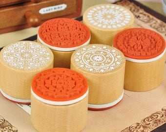 1 Piece Lace Stamp - Wooden Rubber Stamp - Korean Stamp - 6 patterns can choose