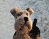 Airedale Terrier, Needle Felted Dog, Handmade Animal, Needle Felted Airedale Terrier - READY TO SHIP