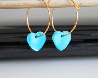 Small hoop earrings, turquoise blue heart earrings, sky blue golden earrings, simple everyday jewelry.