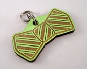 Pet ID Tag Hand Painted Wood - Laser Cut Dog Tag - Bow Tie Dog Tag - Cat Collar Tag
