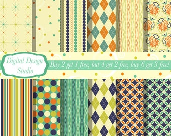 Retro paper and background set. 12 sheets INSTANT DOWNLOAD for personal and commercial use.
