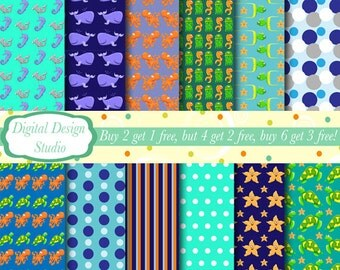 Under the sea, paper and background set, 12 sheets. INSTANT DOWNLOAD for personal and commercial use.