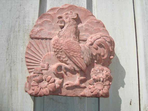 Reserved for Ashley Vintage Terra Cotta Rooster Garden Plaque
