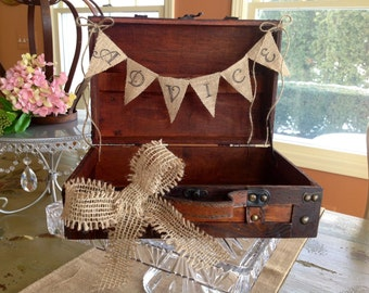Rustic Wedding Card Box, Burlap Banner, Personalized.