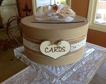 Rustic Wedding Card Box, Wedding Card Holder, Wedding Card Box, Burlap Wedding.