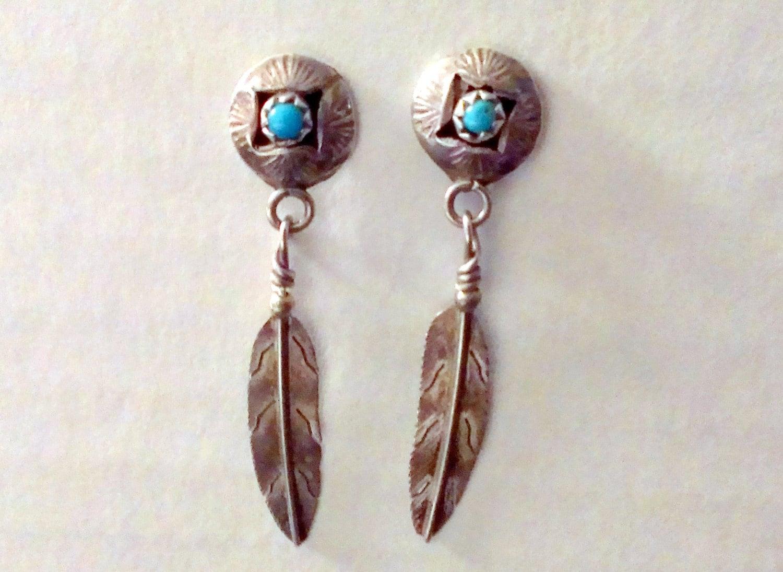 Native american dead pawn silver turquiose feather dangle for Native american feather jewelry