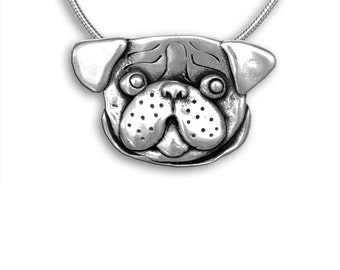 Sterling Silver Pug Head Pin Pendant