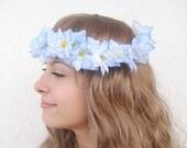 Blue Tropical Flower crown, Rustic wedding accessories, woodland headpiece,Bridal headband, boho head wreath,bridal hair circlet, bohemian