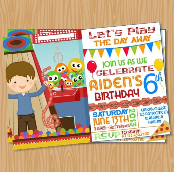 arcade invitation printable by supermomsdesigns on etsy