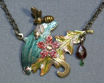 Garnet, Umbrella, Leaf, Honeybee Necklace