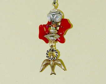 Red Coral Bird Necklace
