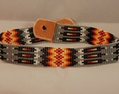 Native American Indian Inspired Seed Bead Choker Necklace Hairband Bracelet Leather 14 3/4 inches Gray