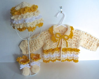 Baby Girl Yellow Jacket Hat and Booties Layette Set  Handmade Baby Girl Outfit