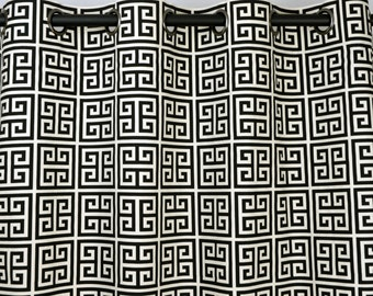 Black Natural Beige Geometric Greek Key Towers Curtains - Grommet - 84 96 108 or 120 Long by 25 or 50 Wide - Optional Blackout Lining