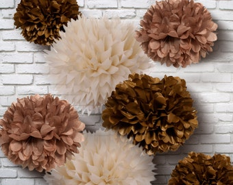 Tissue Paper Pom Poms - Set of 10 - Chocolate mixed//Weddings//Rustic Decor//Receptions//Decorations