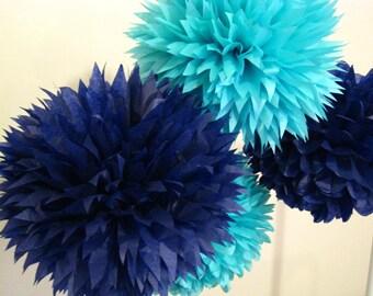 Tissue paper pom poms - Set of 16 - Nautical decor - /Ceremony/boy baby shower/birthday party decor/decorations/Aqua blue