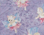 Pixie Angel Kitty Cats on Light LILAC Fabric Micheal Miller Light lavender Shimmer w/Pink Pixie Skirt FQ