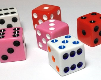 7 Dice for a Girl - mixed fun colors - 16mm high quality dice - square corners