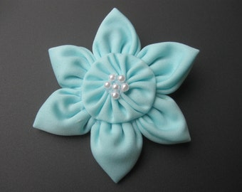 Light Blue Fabric Flower Hair Clip, Hair Accessories for Girls, Hair Clip, 6 Petal Flower Hair Bow