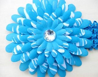 Infant Flower Girl Baby Headband Soft Elastic Hairband Headwear Blue Hair Accessories