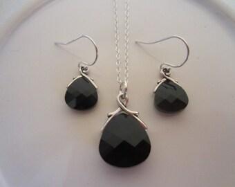 Jet Black Swarovski Crystal Flat Briolette Necklace and Earring Set