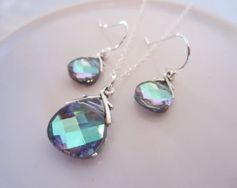 TWO (2) SETS-Bridesmaids Jewlery Sets-Swarovski Crystal in Vitrail Light-Necklace and Earrings