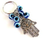 Hamsa Evil Eye Keychain Bag Charm Keyring Protection Yoga Accessories Mothers Day Unique Gift For Her or Him Under 10 Item J3