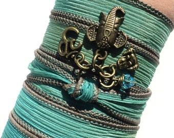 Bohemian Silk Wrap Bracelet Ganesha Yoga Jewelry Sacred Elephant Om Buddha Unique Upper Arm Band Gift For Her Under 50 Item J95
