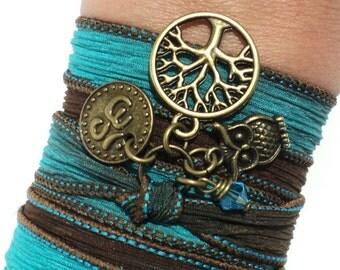 Tree of Life Owl Silk Wrap Bracelet Yoga Jewelry Om Namaste Bohemian Jewelry brown Blue Earthy Unique Gift Under 50 Item V5