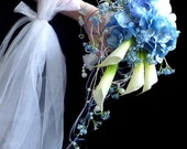 Silk flowers wedding bouguet  Blue hydrangeas   and boutonniere