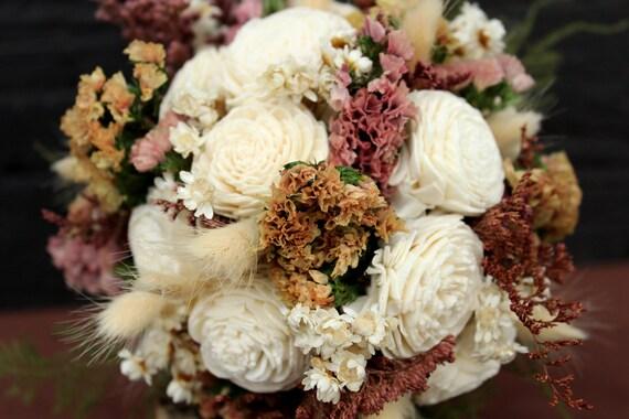 Rustic Wedding Sola Bouquet, Bridal Bouquet, Shabby Chic, Bridesmaid Dried Flower Bouquet, Creamy Ivory Sola Flower Bouquet with Wildflowers