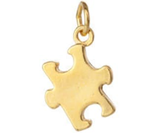 Package of 2 Gold Plated 13x13mm Puzzle Piece Charm (sku 1262 - GP-CH-PUZ-A)