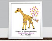 Safari Giraffe Guestbook Thumbprint Keepsake - Personalized Baby Showers guestbook - Jungle baby shower keepsake