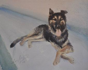 5x7 dog watercolor portrait