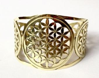 24k plated Golden triple Flower of Life bracelet for Abundance and balance.