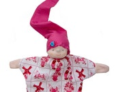 Handpop roze I love Holland, Dutch design babypop, poppenkast pop