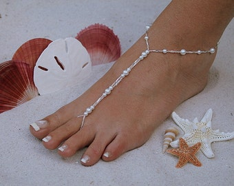 Barefoot Sandal - Simply Elegant  White Pearls and Silver Beads Destination Wedding, Beach Wedding, Bridal Beach Sandal, Bridal Shoes
