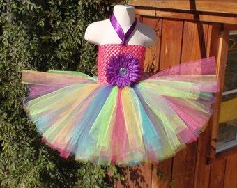 Rainbow tutu dress/Baby girl tutu dress/Girl tutu dress/Birthday tutu dress/Colorful tutu dress/Tutu dress/Photo prop