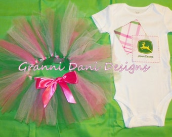 John Deere onesie tutu outfit set- Great for birthdays or new baby 0 3 6 9 12 24 months