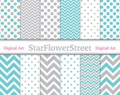 Instant Download - Chevron Polka Dot Digital Paper Scrapbook Background - patterns aqua turquoise blue grey gray scrapbooking 8.5x11 12x12